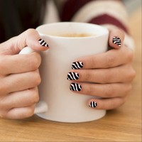 Black & White Zebra Print Nail Art