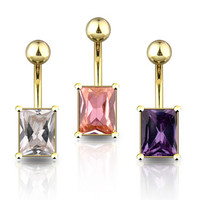 Gold Plated Non Dangle Belly Button Navel Ring with Square Gem Body Jewelry Piercing