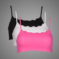 Fruit of the Loom 3-pack, Spaghetti Strap Sport Bras with Lace Trim
