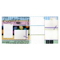 Two Premade Scrapbook Pages - Coloring Easter Eggs | SusansScrapbookShack - Paper/Books on ArtFire