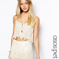 ASOS PETITE Exclusive Embroidery Mesh Cami