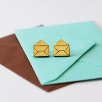 Wooden Envelope Earrings - Stationery Stud Earrings