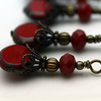 Vintage Style Brass and Czech Coin Deep Red Tortoise Edge Bead Dangle Charm Drop Set - 4 Piece