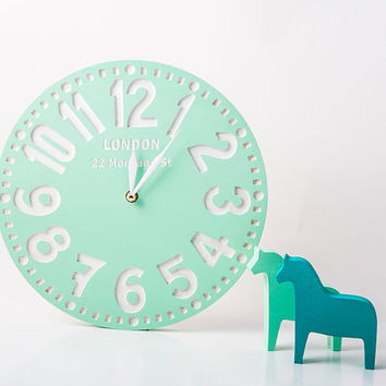 Сlock wall faux vintage -London coral- birch clock handpainted by mint color personalized custom