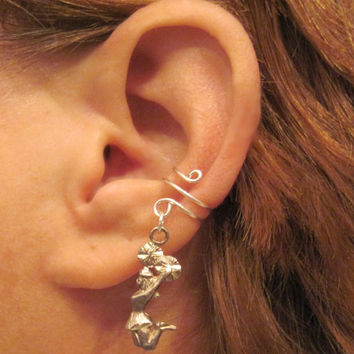 "Non Pierced Sterling Silver Ear Cuff ""Cheerleader"" Cartilage Conch Cuff Upcycled Vintage OOAK"