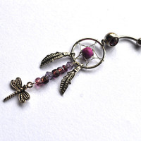 Purple Dreamcatcher Belly Button Ring, dragonfly Navel Jewelry, belly ring, gypsy belly button ring, dreamcatcher jewelry, belly piercing
