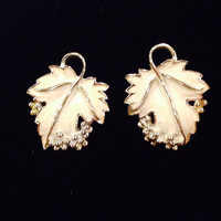 Vintage Sarah Coventry White Enamel Grape Leaf Earrings Costume Jewelry