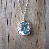 Whisper Necklace in Baby Blue Topaz by onegarnetgirl on Etsy