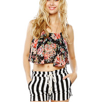 Papaya Clothing Online :: FLORAL CHIFFON CROP TOP