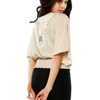 Papaya Clothing Online :: BACK LACY CAPE DRESSY TOP