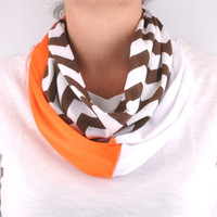 Chevron Infinity Scarf Stripe Zig Zag Cleveland Browns Orange women lightweight Infinity scarf Loop Circle jersey