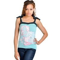 "Women's Annabel Bow ""Mercorn"" Tank by Too Fast Clothing (Blue)"