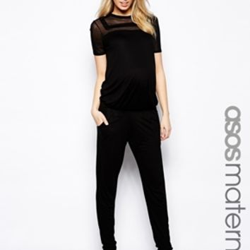 ASOS Maternity Jumpsuit In Sheer And Solid