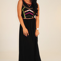RESTOCK: Sparkle With Darkness Dress: Black/Multi