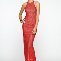 Scala 47678 - Red High Neck Sequin Prom Dresses Online