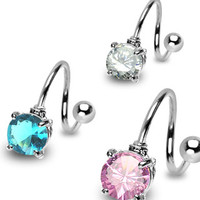 Round Cz Twister Belly Button Ring Navel Body Jewelry Piercing