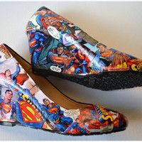 Custom Shoes, Womens Superman Shoes, Wedges, Superman Shoes, Superman Wedge Shoe, Designer Superman Shoes, Wedding Shoes, Shoes for Wedding