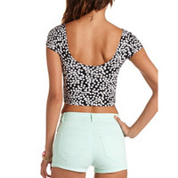 SHORT SLEEVE PRINTED COTTON CROP TOP