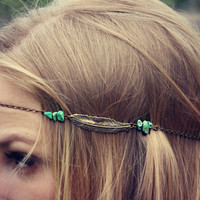 antique brass feather head piece, chain headband, feather headband, metal headband, unique headband
