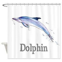 Coastal Decor Dolphin Shower Curtain - D is for Dolphin - Watercolor, dolphin, surf, surfing, ocean, illustrated, alphabet