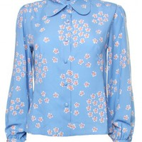 LOVE Blue Daisy Print Penny Collar Blouse