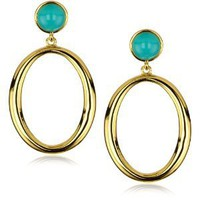 Trina Turk Athena Hoop Gold Earrings In Aqua