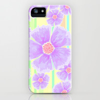 Spring Floral and Stripes Watercolor iPhone & iPod Case by Lisa Argyropoulos | Society6