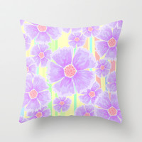 Spring Floral and Stripes Watercolor Throw Pillow by Lisa Argyropoulos | Society6
