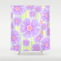 Spring Floral and Stripes Watercolor Shower Curtain by Lisa Argyropoulos | Society6