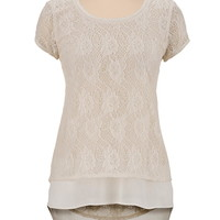 high-low lace and chiffon top