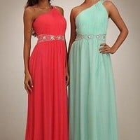 Formal PROM DRESS Temptation CORAL High Empire Waist ONE SHOULDER A-Line sz 4
