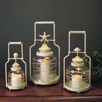 Evergreen 7997 Enterprises Shell Lanterns D?cor Candle Holder  - Decor Universe