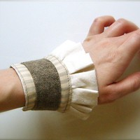 Roustabout  Brown Grey Ivory Striped Ruffle Cuff w Vintage by Folk