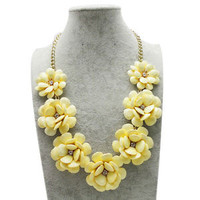 Yellow Big Flower Gold Chain Necklace Turquoise Acrylic Beads Bib Statement A02