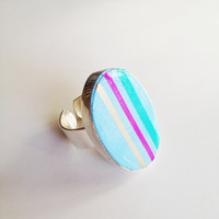 Blue Striped Cocktail Ring