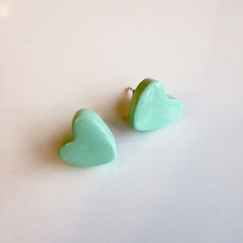 Heart Stud Earrings {Mint Green, Polymer Clay}