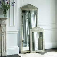 Embossed White Metal Scalloped Mirror
