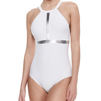 Metallic High-Neck One-Piece