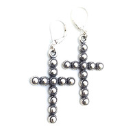 Silver Cross Earrings, Oxidized, Leverback, Gothic, Fashion Jewelry, Cross Dangle, Medium