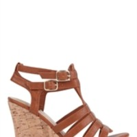 Peep Toe Platform Wedge Sling Back with Cut Out Flower Design