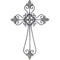 Grey Decorative Religious Cross Wall Decoration With Gem Centerpiece