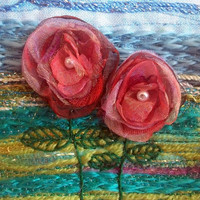 Organza flowers - handmade card - fabric art card