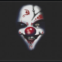 Evil Clown Cross Stitch Pattern