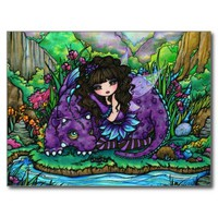 Dragon Fairy Fantasy Art Postcard by Hannah Lynn