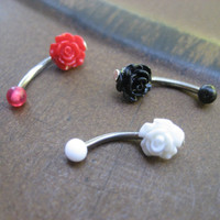 16 Gauge Tiny Rose Rook Eyebrow Piercing Ring Ear Earring Stud Jewelry Bar Barbell Red White Black