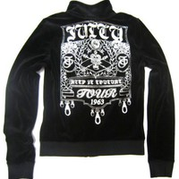 "Juicy Couture Velour Track Jacket ""Juicy Keep It Couture Tour 1963"" in Black / Silver"