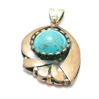 1 Piece Antique Bronze Bezel Pendant with Turquoise Stone, Faceted Jade Stone Pendant, Jewelry Findings, Bohemian Jewelry Pendant