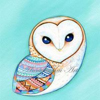 Barn Owl - Teal Mint Aquamarine and Tribal Pattern - Modern Painting Print by Annya Kai