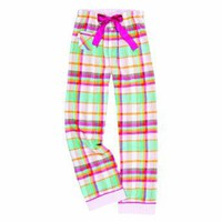 Youth Beach Pink Green White Plaid Check VIP Flannel Pants for lounging, sleep, sports. Unisex relaxed fit