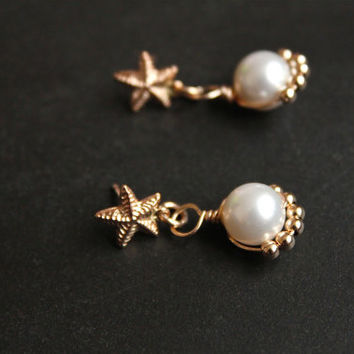 Pearl drop earrings, 14kt gold filled earrings bridal wedding jewelry